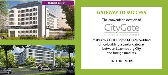 GATEWAY TO SUCCESS: The convenient location of CityGate Findel/Airport makes this 13 000sqm BREEAM-certified office building a useful gateway between Luxembourg City and foreign markets.
