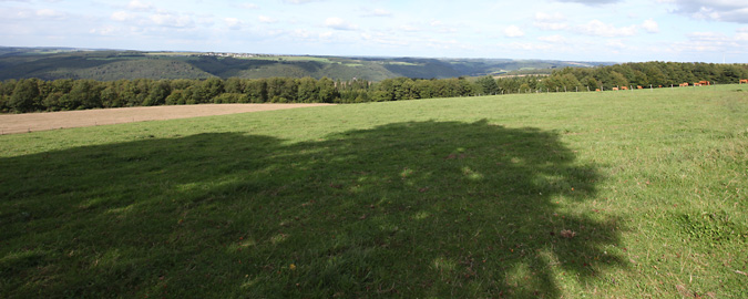 This view over a grassy field to distant hills suggests land that might be one of your acquisitions and disposals