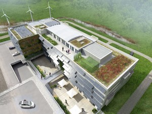 Bird's Eye View of the SolarWind project showing roof garden
