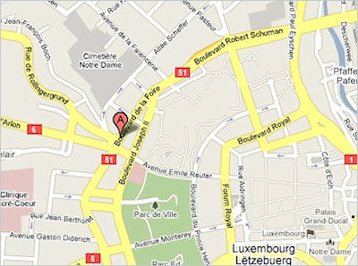 Map showing the location of the prestigious StarGate Luxembourg building marketed by RealCorp Luxembourg