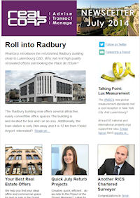 RealCorp Luxembourg Newsletter July 2014 Cover