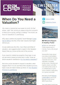 RealCorp Luxembourg Newsletter March 2014 Cover