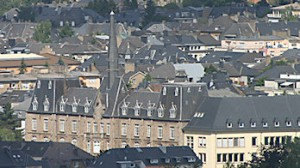 Luxembourg spire and rooftops