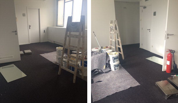 Painting in progress at Fund Solutions' new premises