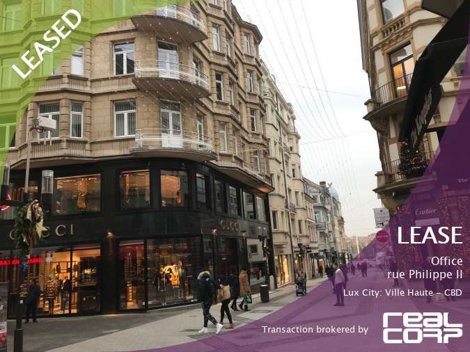RealCorp Luxembourg — LEASED: Lease Office — rue Philippe II, Lux City: Ville Haute - CBDTransaction brokered by