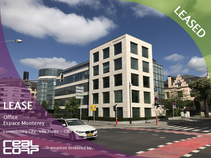 RealCorp Luxembourg — LEASED: Lease Office — Espace Monterey, Luxembourg City: Ville Haute - CBDTransaction brokered by