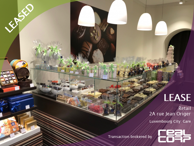 RealCorp Luxembourg — LEASED: Lease Retail — 2A rue Jean Origer, Luxembourg City: GareTransaction brokered by