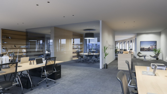 A wide view of interior office space in the Impulse Building marketed by RealCorp Luxembourg