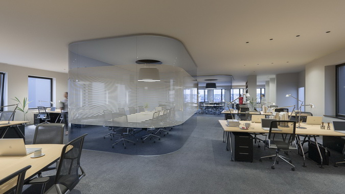 Interior office space in Impulse Building marketed by RealCorp Luxembourg