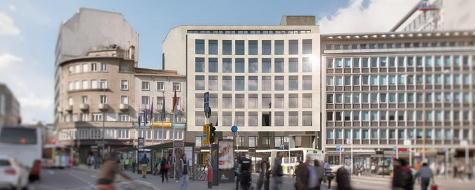 Front view over busy street of Impulse Building marketed by RealCorp Luxembourg