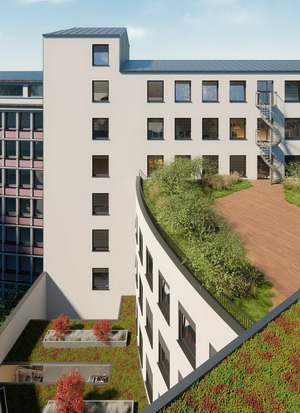 Beautifully landscaped external spaces in Impulse Building marketed by RealCorp Luxembourg