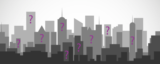 City scape with question marks