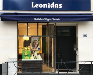 Close-up exterior view of Leonidas Shop on Rue Jean Origer Luxembourg let to Leonidas by RealCorp Luxembourg