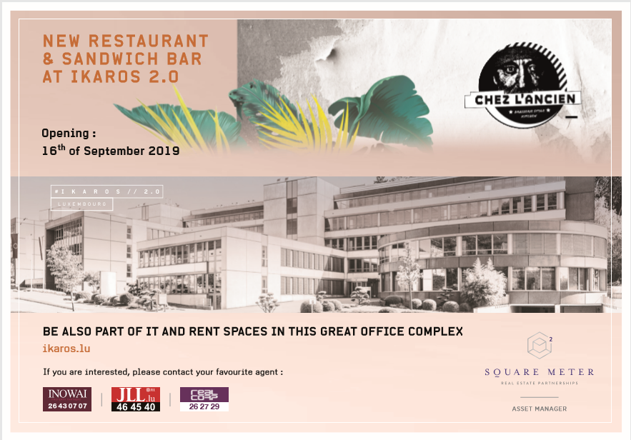 Promotional image in salmon pink and brown showing the office complex IKAROS 2.0 where restaurant CHEZ L'ANCIEN will be opening on 16 September 2019.