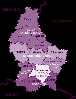 Carte de la zone du Luxembourg