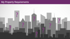 Graphic in greys of a city skyline, with smaller buildings in darker greys closer to the viewer and taller buildings in lighter greys behind the darker ones.. Purple question marks are superimposed over six of the buildings.