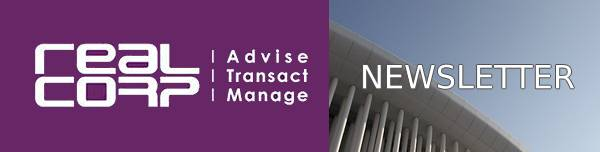 Newsletter header image showing on the left in white on a purple background the RealCorp logo including the words Advise, Transact, Manage, and on the right an artistic photo of the white columns of the Luxembourg Philharmonic building against a blue sky, behind the words Featured Properties in white. This newsletter includes Properties in Gare and other Luxembourg localities.