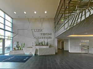 The Lux Tech Center Reception area is modern and bright