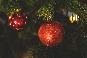 Glittery orange-red baubles on a Christmas tree branch illustrate RealCorp's wishes for a warm Christmas at home even as you pursue your property search.