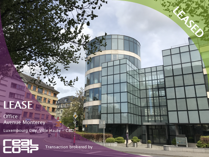 Norges Bank has leased offices in this beautiful glass building on Avenue Monterey, Luxembourg City: Ville Haute - CBD