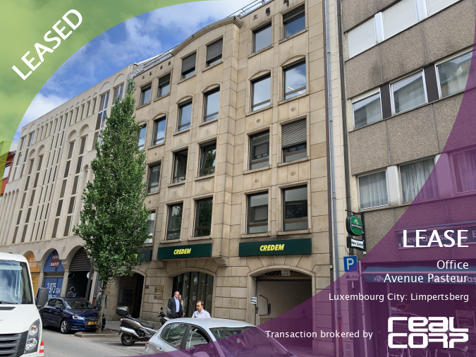 RealCorp Luxembourg — LEASED: Lease Office — Avenue Pasteur, Luxembourg City: LimpertsbergTransaction brokered by