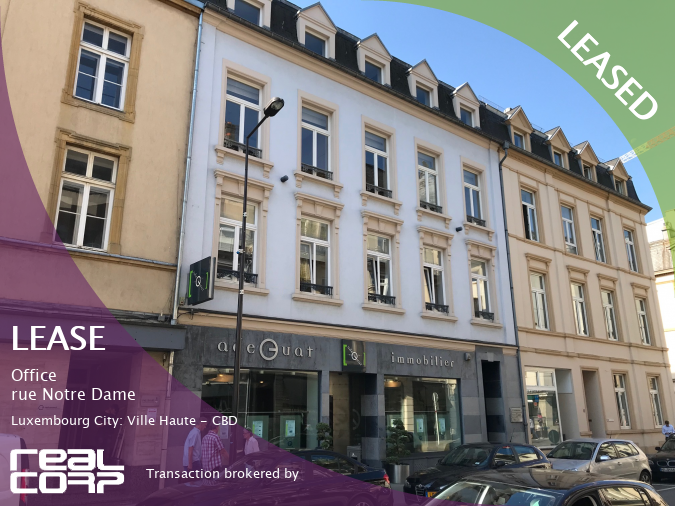 RealCorp Luxembourg — LEASED: Lease Office — rue Notre Dame, Luxembourg City: Ville Haute - CBDTransaction brokered by