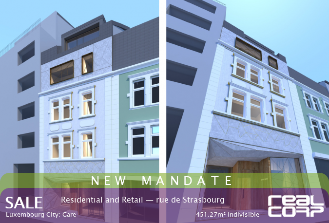 RealCorp Luxembourg — NEW MANDATE: Sale Residential and Retail — rue de Strasbourg, Luxembourg City: Gare451.27m² indivisible
