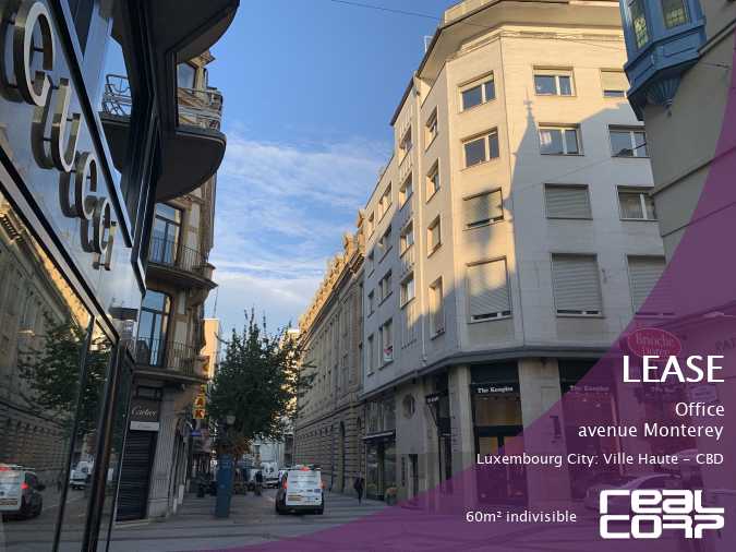 RealCorp Luxembourg — Lease Office — avenue Monterey, Luxembourg City: Ville Haute - CBD60m² indivisible