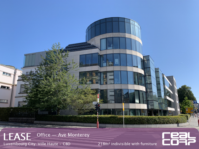 RealCorp Luxembourg — Lease Office — Ave Monterey, Luxembourg City: Ville Haute - CBD218m² indivisible with furniture