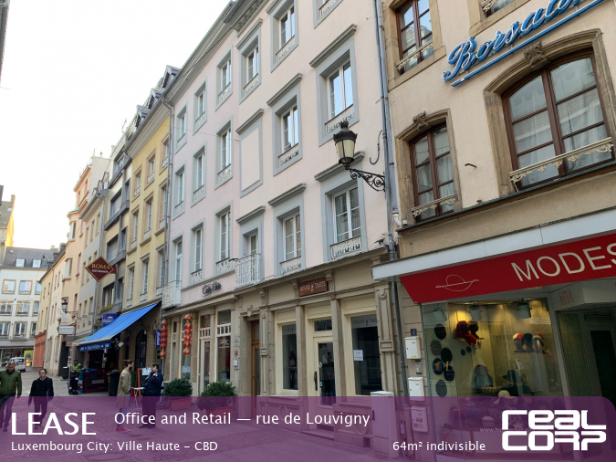 RealCorp Luxembourg — Lease Office and Retail — rue de Louvigny, Luxembourg City: Ville Haute - CBD64m² indivisible